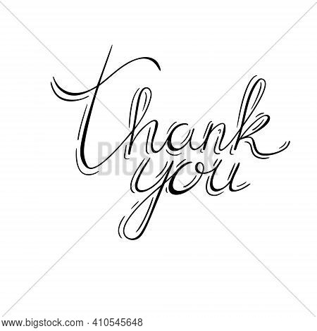 Vector Calligraphy With Phrase Thank You. Hand Lettering Isolated On White Background. Modern Callig