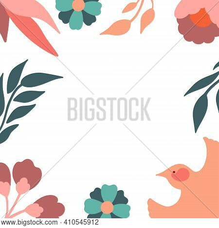 Floral Frame With Bird. Vector Decorative Square Frame With Stylised Flowers And Bird. Decoration In