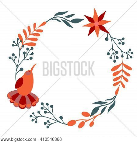 Beautiful Floral Wreath With Bird. Vector Decorative Round Frame With Stylised Flowers And Bird. Dec