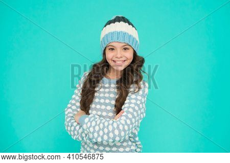 Keep Head In Warmth. Cozy And Comfortable. Winter Fashion For Active Rest. Healthy Child Wearing Kni