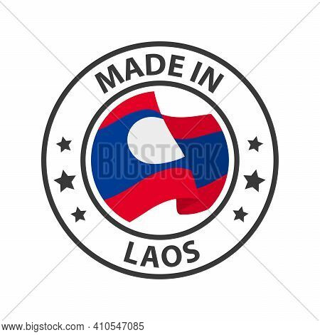 Made In Laos Icon. Stamp Sticker. Vector Illustration