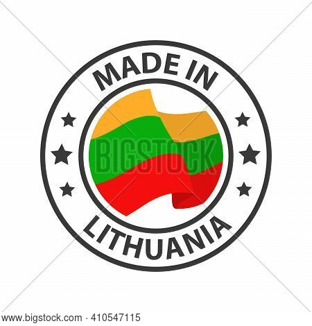 Made In Lithuania Icon. Stamp Sticker. Vector Illustration