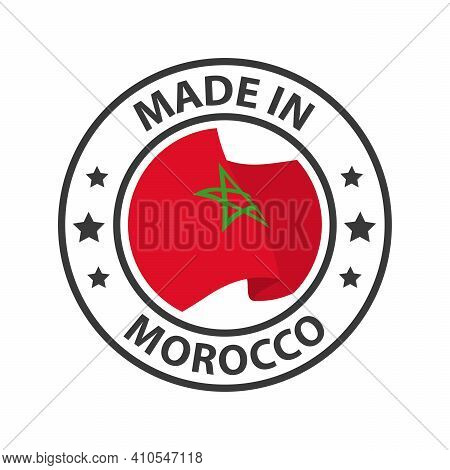 Made In Morocco Icon. Stamp Sticker. Vector Illustration