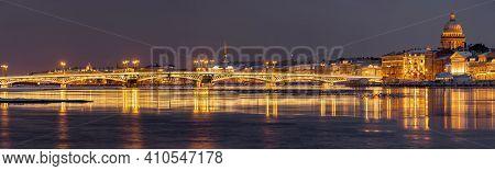 The Panoramic Image Of The Winter Night City Saint-petersburg, Blagoveshchensky Bridge, The Bridge O