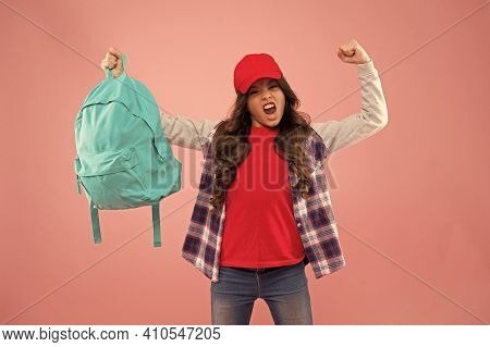 Powerful Kid. Carrying Things In Backpack. Learn How Fit Backpack Correctly. Girl Little Fashionable
