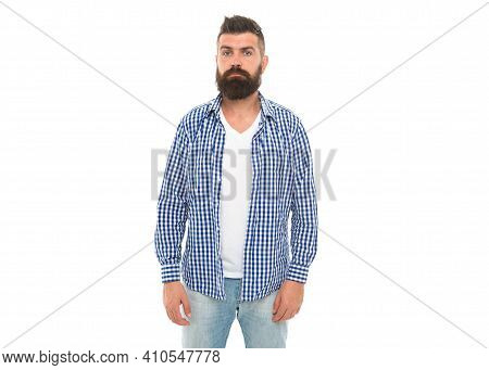 Barbershop Service. Serious Mature Man. Handsome Guy With Beard And Moustache Isolated On White. Mal
