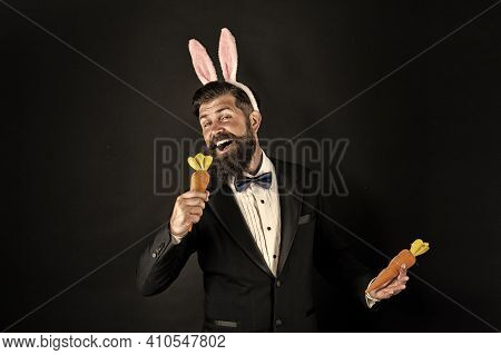 Feel The Song. Easter Singer. Businessman Pretend Singing With Carrot. Bearded Man Sing Song Black B