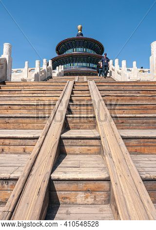 Beijing, China - April 29, 2010: Temple Of Heaven. Seen From Bottom Of Brown Wooden Stairway Stands