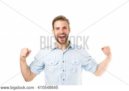 Achieve Success. Man Handsome Bearded Guy Smiling On White Background Isolated. Guy Cheerful Smile F