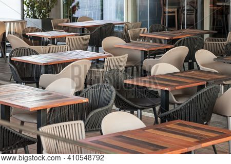 Selective Blur On Empty Terrace And Patio Of A Bar Restaurant Of Belgrade, Serbia, Closed With Short