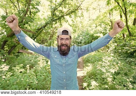 Summer Camping Vacation. Man Hipster Hiking. Male Beard Care. Brutal Hipster In Forest. Discover New