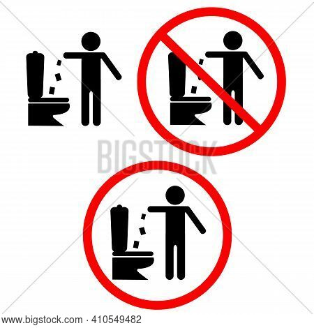 No Trow Paper In Toilet Sign. No Toilet Littering Symbol. Trash Into Toilet Pictogram. Flat Style.