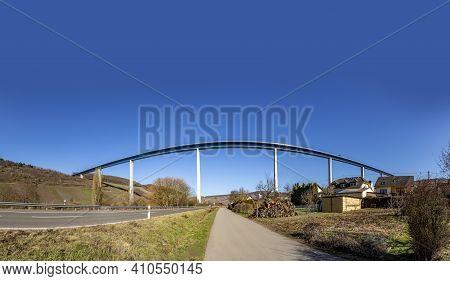 Huge Modern Mosel Bridge Near Zeltingen In Germany