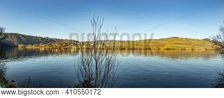 Scenic Mosel Valley Panorama In Bright Morning Light