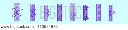 Set Of Garter Cartoon Icon Design Template With Various Models. Modern Vector Illustration Isolated