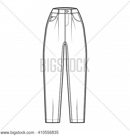 Slouchy Jeans Denim Pants Technical Fashion Illustration With Ankle Length, Normal Waist, High Rise,