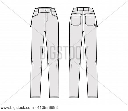 Jeans Carpenter Denim Pants Technical Fashion Illustration With Full Length, Normal Waist, High Rise