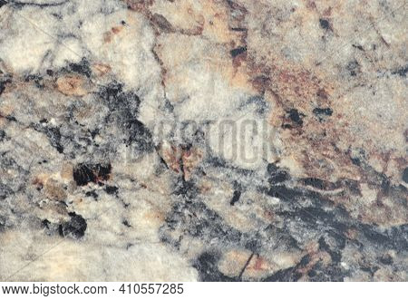 Light Gray Marble With Dark Veins And Blotches, Close-up Of A Flat Surface Of Natural Stone.