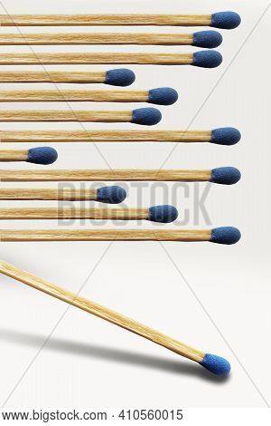Wooden Matches Are Lined Up And A Match Is About To Start All The Matches On Fire. This Is A 3-d Ill