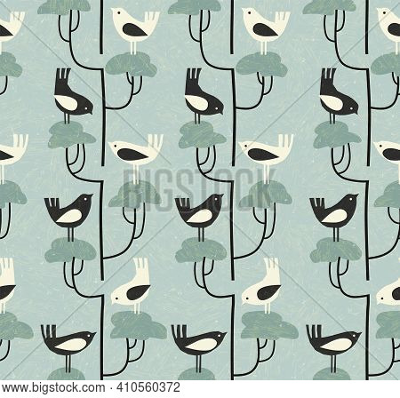 Cute Mid-century Style Seamless Pattern With Birds On Nests With Eggs. Fresh Design For Fabric, Gift