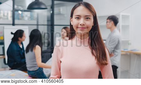 Portrait Of Successful Beautiful Executive Businesswoman Smart Casual Wear Looking At Camera And Smi