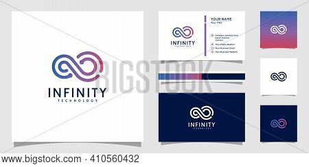 Infinity Tech Logo With Line Art Style And Business Card Design Template Outline Color Gradient Tech