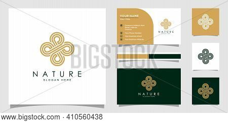 Flower Logo Design With Line Art Style. Logos Can Be Used For Spa, Beauty Salon, Decoration, Boutiqu