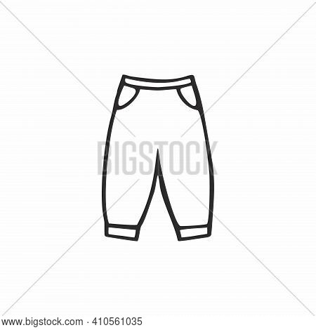 Pants For A Child Isolated On A White Background. Vector Doodle Illustration Of Clothing For Childre
