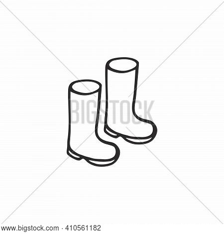 Rubber Boots Hand-drawn Isolated On A White Background. Shoes For Children And Parents. Contour Icon