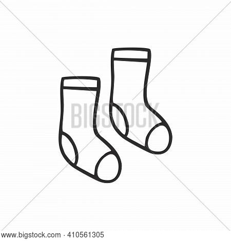 Two Doodle Socks Drawn With A Single Black Contour Line. Vector Hand-drawn Illustrations. Icon, Pict
