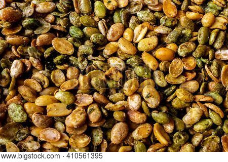 Spicy Snack Of Green Lima Beans And Peanuts. Indian Sweet And Savory