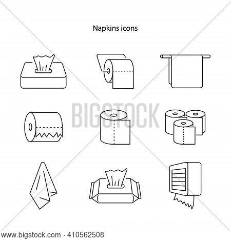 Napkin Icons. Tissue Paper Box Icon. Wipes Icons. Vector. Ui Icon. Neumorphic Ui Ux White User Inter
