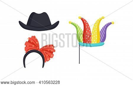Set Of Masquerade Party Costume Accessories, Jester Hat On Stick, Headband With Red Bow, Black Bowle