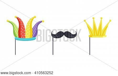 Set Of Masquerade Party Costume Accessories, Jester Hat, Golden Crown, Black Mustaches On Sticks Car
