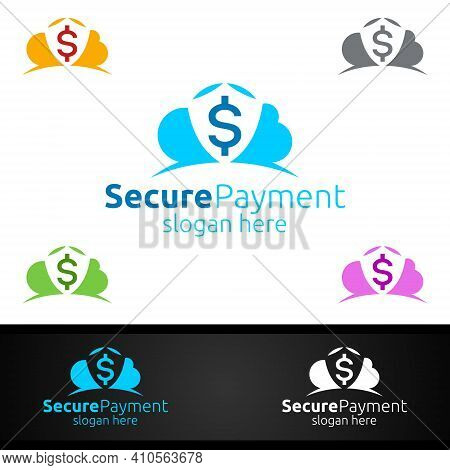 Cloud Online Secure Payment Logo For Security Online Shopping. Financial Transaction. Sending Money.