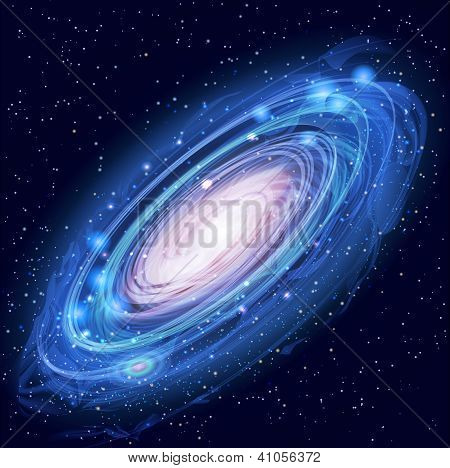 Blue Beautiful Glowing Vector Andromeda Galaxy with Stars poster
