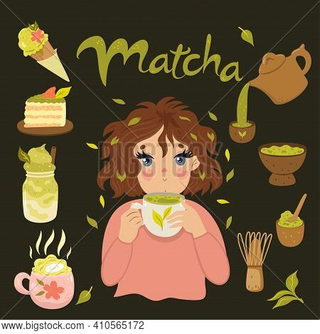 Cute Girl Is Drinking Matcha Tea. Matcha Green Tea Vector Graphics Set.
