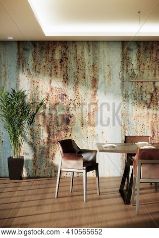 Dining Room Interior Decoration With Brown Leather Chairs Wooden Table Plant In Pot And Rustic Wall.