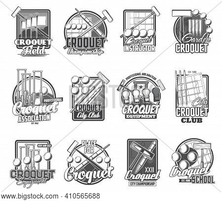 Croquet Sport Vector Icons Isolated Mallet, Peg And Balls Items. Sports Club Tournament, Croquet Gam
