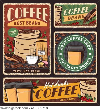 Coffee Cup And Bag Of Roasted Beans Vector Banners Of Cafe Hot Drinks Or Beverages. Takeaway Paper C