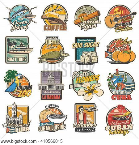 Cuba And Havana Travel, Tourist Attractions And Food Retro Icons Set. Ocean Fishing, Coffee And Hava