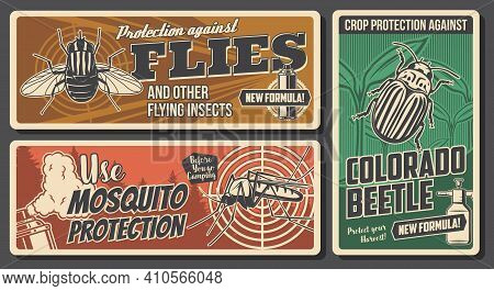Protection From Insects And Pests Control Banners. Flies And Mosquito, Colorado Beetle On Garden Pla