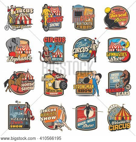 Circus Funfair Carnival Show And Clowns Festival, Vector Retro Icons. Vintage Big Top Circus Shapito