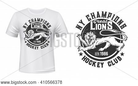 Lion Print T-shirt Mockup, Hockey Club Team Emblem, Vector Icon. Great Lions Ice Hockey Champions Te