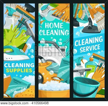 House Cleaning Service, Home Cleaners Supplies, Household Housework And Laundry, Vector Banners. Hou