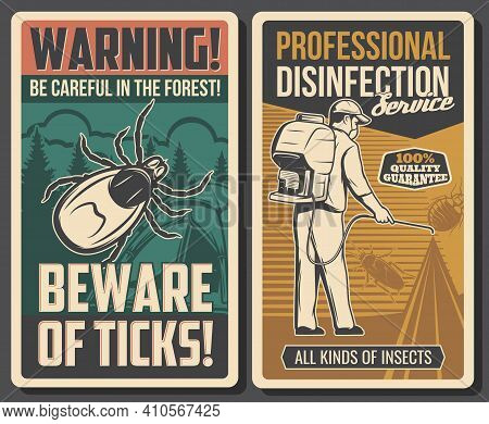 Disinfection Service And Tick Bite Prevention Banners. Pest Control Exterminator In Mask Spraying In