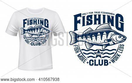 Seaking Perch Fish T-shirt Print. Vector Mascot Of Sea Fishing Club. Blue Sea Fish On Waves T-shirt