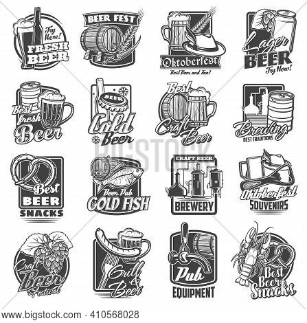 Craft Beer Brewery And Festivals Sketch Icons Set. Oktoberfest Beverages And Snacks, Local Brewing P