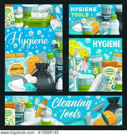 Hygiene And Personal Care Items, Bathroom Supplies, Toothpaste And Soap, Vector. Hygiene Supplies An