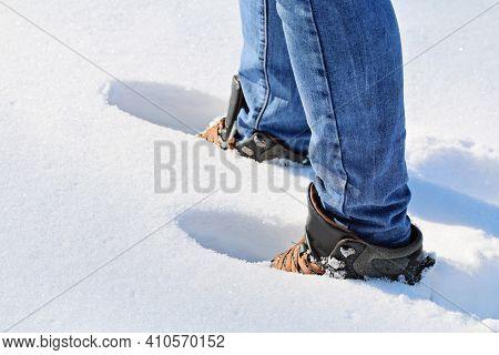 A Man Walks In The Snow, Footprints In The Snow, Deep Snow, Snowdrift.